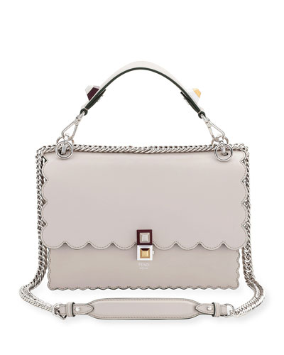 Kan I Scalloped Leather Shoulder Bag, Gray