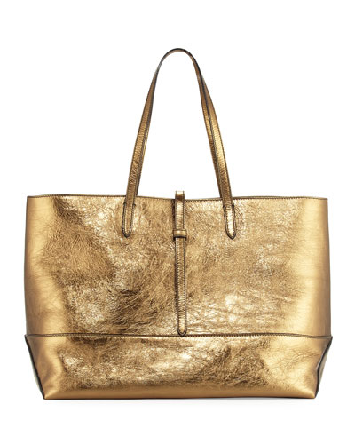 Aged Metallic Leather Tote Bag, Brown/Multi