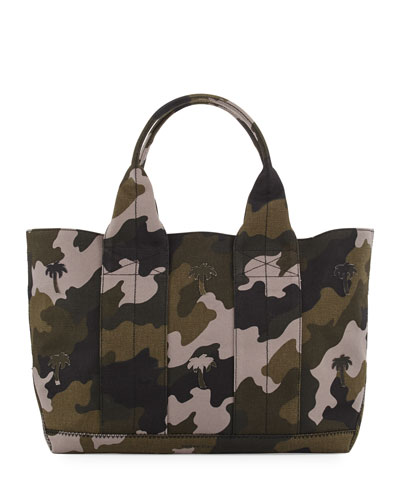 Large Canvas Palms Tote Bag, Camo/Multi