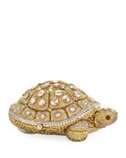 Crystal-Embellished Turtle Clutch Bag, Yellow