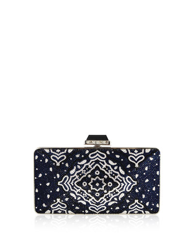 Bandana Diamond Crystal Clutch Bag, Indigo