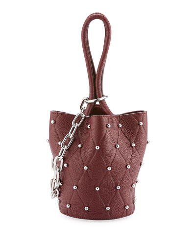 Roxy Mini Studded Bucket Bag, Dark Red