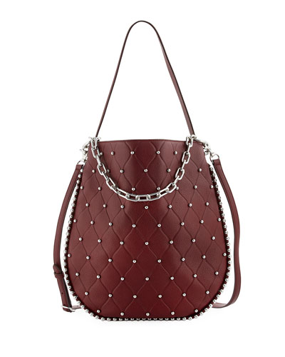 Roxy Refined Pebbled Hobo Bag, Dark Red