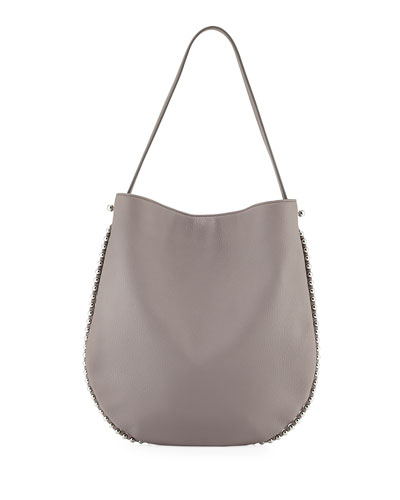 Roxy Refined Pebbled Hobo Bag, Gray