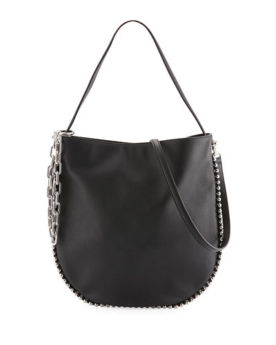 Roxy Pebbled Stud Hobo Bag, Black