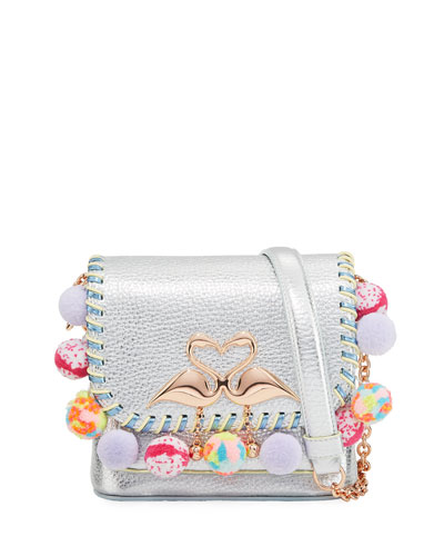 Claudie Metallic Pompom Crossbody Bag, Multi