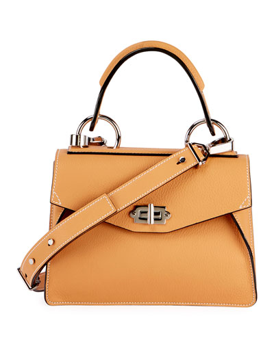 Hava Small Leather Top-Handle Satchel Bag, Toast