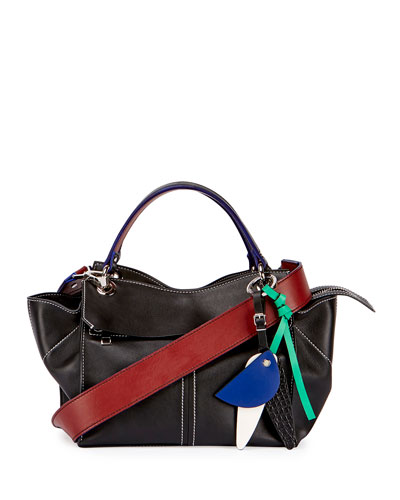Curl Smooth Leather Satchel Bag