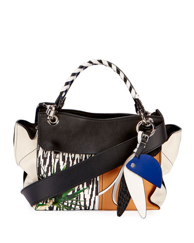Curl Mix-Print Satchel Bag, Black/Multi