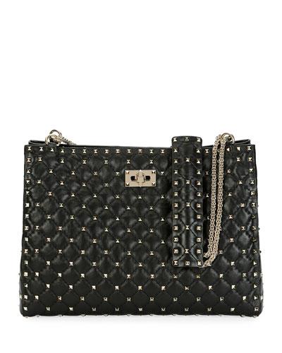Rockstud Spike Crinkled Shoulder Bag