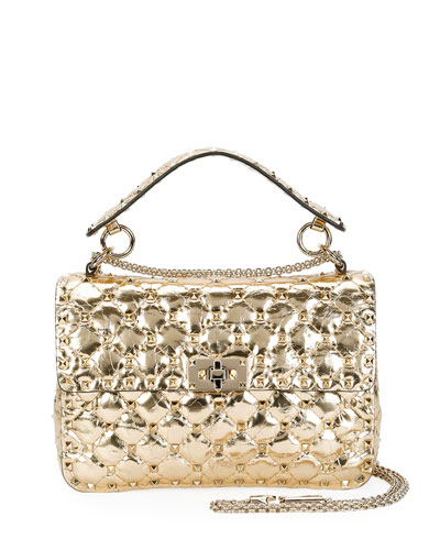 Valentino Garavani Valentino Rockstud Quilted Medium Camera Bag, Gold