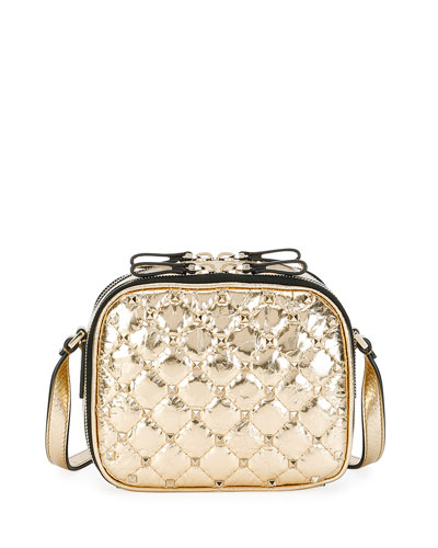 Rockstud Spike Metallic Crossbody Camera Bag, Gold