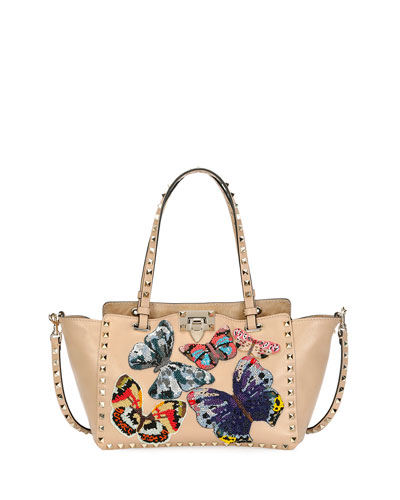 Rockstud Small Embroidered Tote Bag, Camel