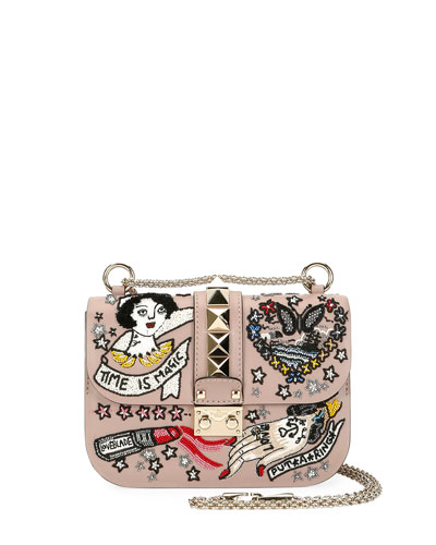 Lock Small Embellished Shoulder Bag, Beige