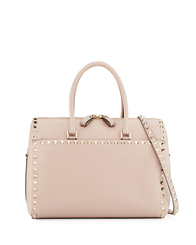 Rockstud Leather Zip Satchel Bag, Beige