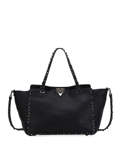 Rockstud Rolling Small Noir Leather Tote Bag, Black