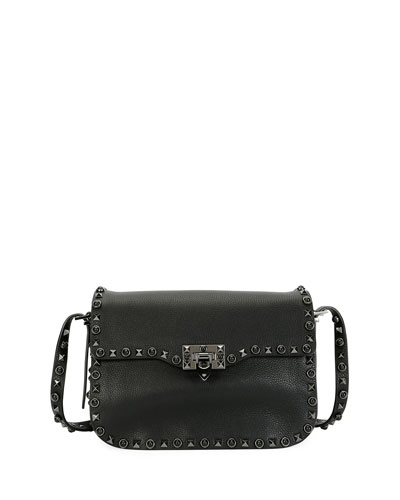 Rockstud Rolling Noir Shoulder Bag, Black