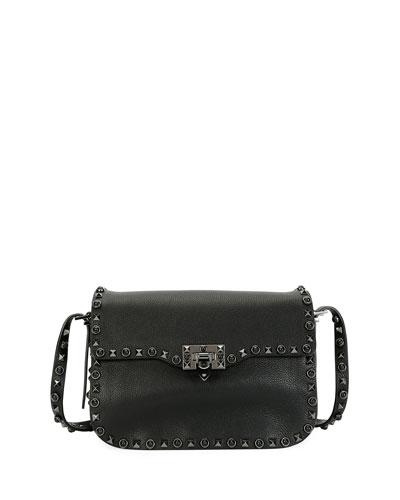 Rockstud Rolling Noir Shoulder Bag, Black