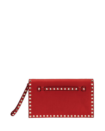 Rockstud Wristlet Clutch Bag, Red