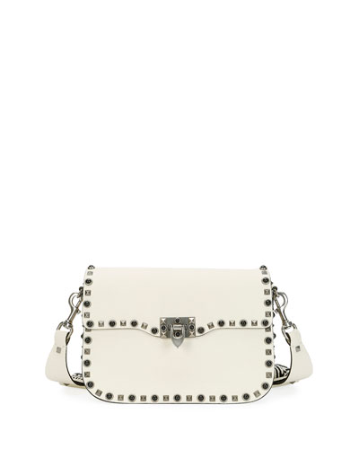 Guitar Rockstud Rolling Shoulder Bag, Ivory