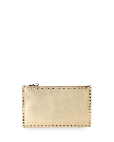 Rockstud Large Zip Pouch Bag, Gold