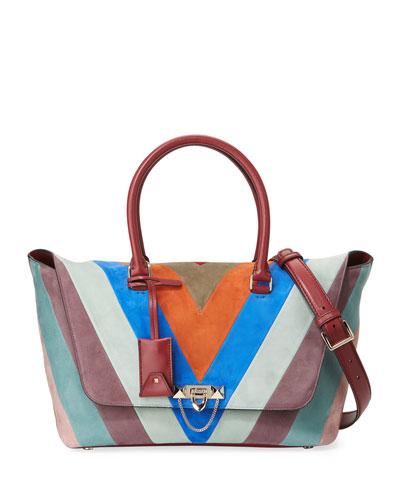 Demilune Small Chevron Satchel Bag