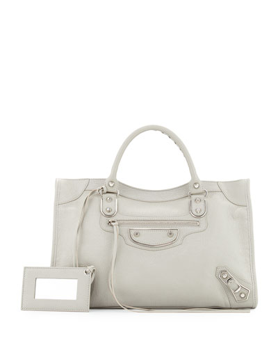Classic Metallic Edge City Bag, Gray