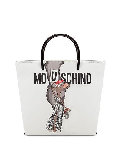 Rat-a-Porter Mouschino Shopper Tote Bag, White