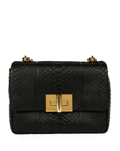 Natalia Large Santiago Python Shoulder Bag, Black