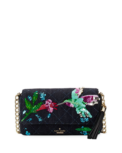 emerson place hummingbird serena shoulder bag, dark denim