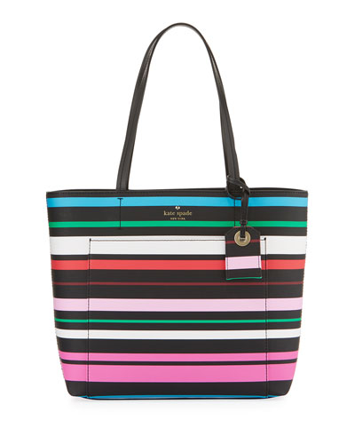 harding street riley stripe tote bag, black/multi