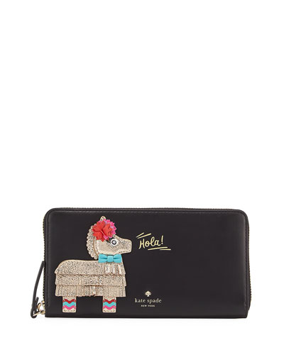 haute stuff pinata zip wallet, black