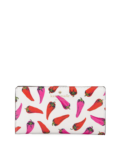 stacy hot pepper printed snap wallet, cream/multi