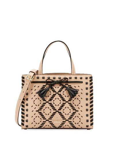 hayes street isobel small woven handbag, cashew