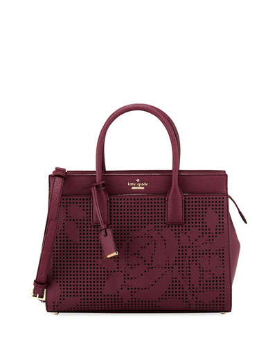 cameron street candace floral perforated satchel bag, deep plum