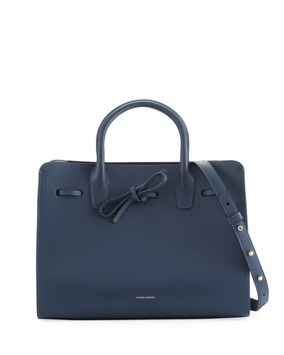Calf Leather Drawstring Sun Tote Bag, Blue