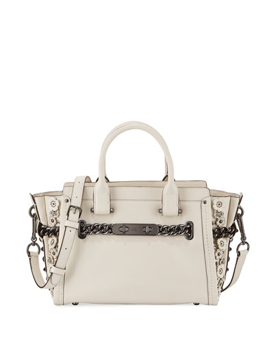 Swagger 27 Leather Satchel Bag, Chalk