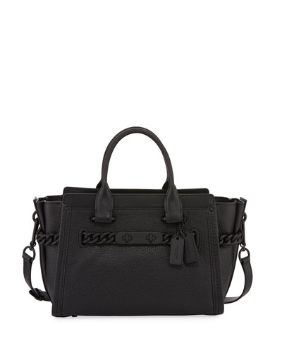 Swagger 27 Leather Satchel Bag, Black