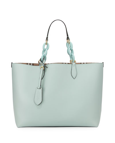 Haymarket Medium Reversible Tote Bag, Light Blue/Check