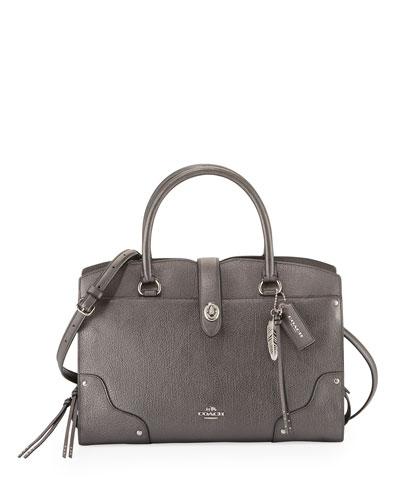 Mercer 30 Leather Satchel Bag, Metallic Graphite