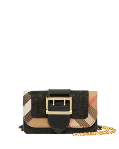 Mini Check/Embossed Suede Phone Crossbody Bag