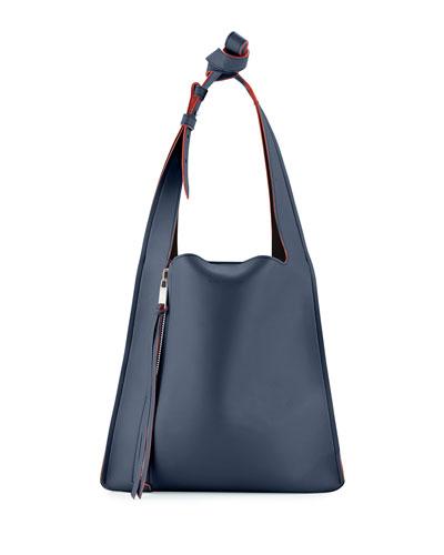 Estia Small Leather Tote Bag, Navy