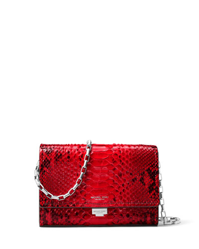 Yasmeen Python Clutch Bag, Red