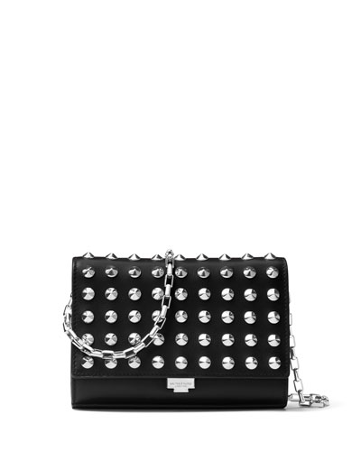 Yasmeen Studded Clutch Bag, Red