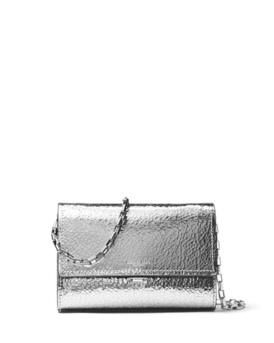 Yasmeen Metallic Clutch Bag, Silver