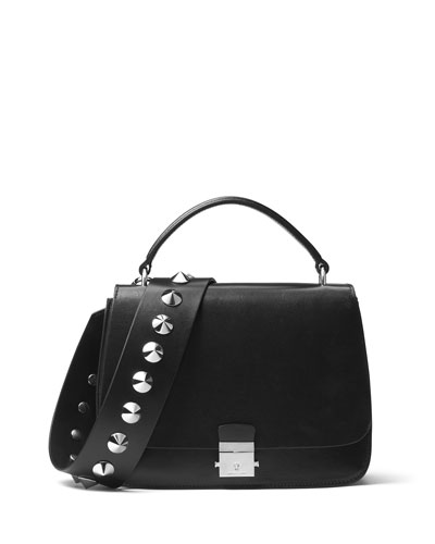 Mia Leather Top Handle Bag, Black