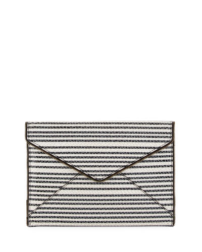 Leo Striped Snake-Embossed Envelope Clutch, Black/White