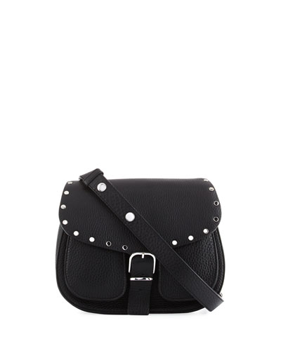 Biker Pebbled Leather Saddle Bag, Black