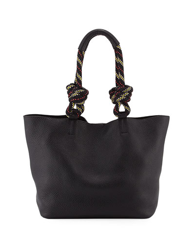Climbing Rope Leather Tote Bag, Black