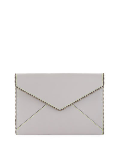 Leo Zipper-Trim Envelope Clutch w/ Contrast Topstitch